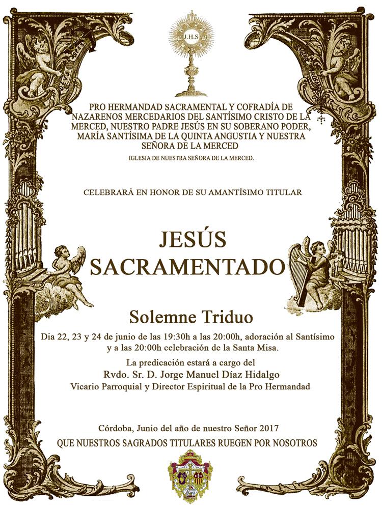 Cartel Cultos Jesús Sacramentado 2017