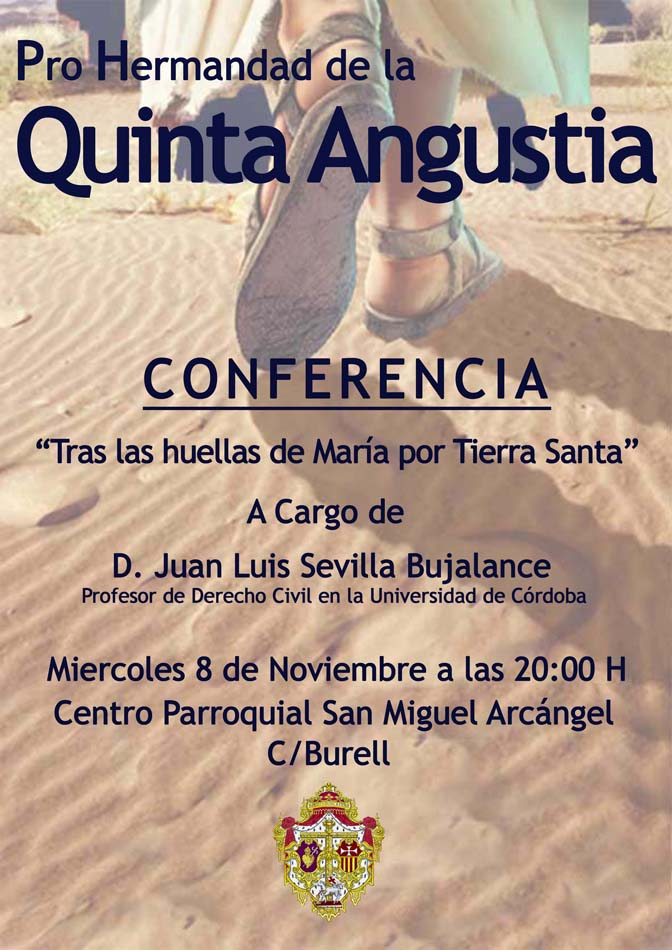 cartel conferencia Tras las huella de María por Tierra Santa